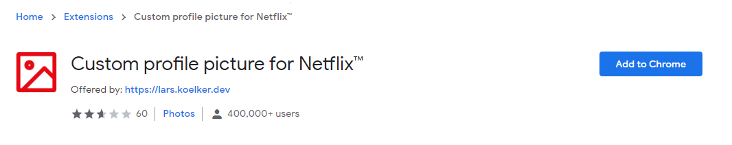 custom profile picture for netflix chrome extensions